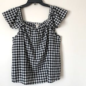 J. Crew Small Gingham Black and White Blouse
